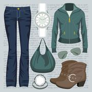 fashion set with jeans and a jacket - stock illustration