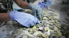 Hands Counting Coins Stock Footage