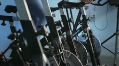 Girl Spinning Bycicle View - stock footage