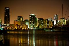 Miami Beach skyline at night Stock Photos