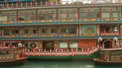 Traditional Old Chinese Style Boat Restaurant in Aberdeen, Hong Kong Stock Footage