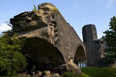 Remains of the Ludendorff Bridge in Remagen - stock photo
