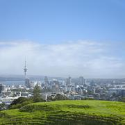 auckland skyline from mount eden - stock photo