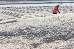 Stock Photo of salt texture with farmer