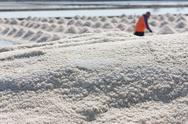 Stock Photo of salt texture with farmer