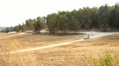 649 cars pass through an open (forest) clearing in fast motion Stock Footage