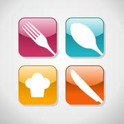 gourmet glossy icons set background - stock illustration