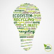 go green. words cloud about environmental conservation in bulb - stock illustration