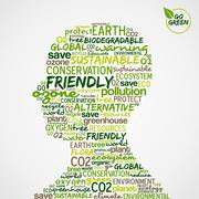 go green. words cloud about environmental conservation in man head - stock illustration