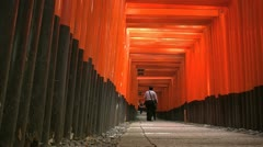Fushimi Inari Temple Torii slide forward - stock footage