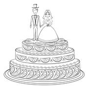 Holiday pie with bride and groom, contour Stock Illustration
