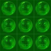 Bubbles smileys, green Stock Illustration