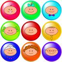 Buttons, cheerful faces, set Stock Illustration