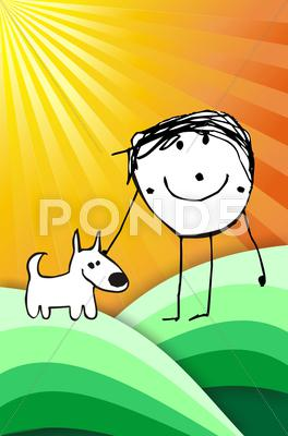 Stock Illustration of colorful kid with his dog illustration