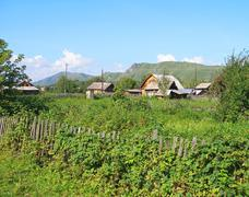the altay village - stock photo