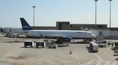 Jet Blue Aircraft Parked At Logan Airport Boston Stock Footage