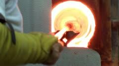 Hot orange glory hole - stock footage