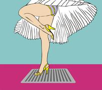 Marilyn monroe legs style with flying dress Stock Illustration