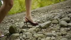 High heels hiking Stock Footage