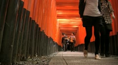 Fushimi Inari Temple Torii slide forward Stock Footage