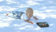 Little child trying to reach a christian icon Stock Footage
