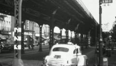ELEVATED SUBWAY TRAIN 3rd & E55th 1940s (Vintage Film Retro Home Movie) 4752 Stock Footage