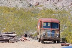 Old junk car in the nevada desert in nelson, eldorado canyon Stock Photos