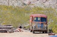 Old junk car in the nevada desert in nelson, eldorado canyon Stock Photos