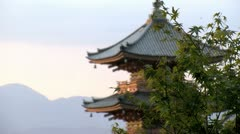 Slide from the tree with focus at the pagoda of the Kiyomizu temple Stock Footage