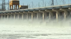 Reset of water at hydroelectric power station on the river Stock Footage