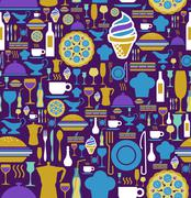 gourmet icon set seamless pattern. - stock illustration