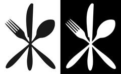 Black and white cutlery icons Stock Illustration