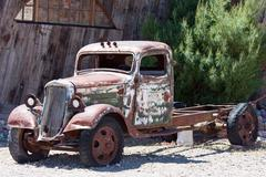 old junk car in the nevada desert in nelson, eldorado canyon - stock photo