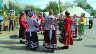 Group of russian folk singers during festival Stock Footage