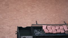 Grill with meet Stock Footage