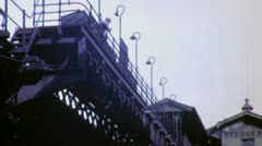 ELEVATED SUBWAY TRAIN Mass Transit Station 1940s (Vintage Film Home Movie) 4824 Stock Footage