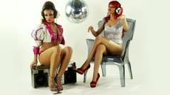 Gogo dancer burlesuqe disco girls Stock Footage