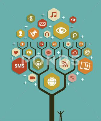 Stock Illustration of web marketing business tree plan