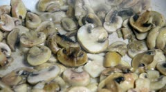 Fresh mushroom baking on a plate Stock Footage