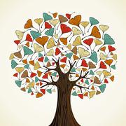 Abstract ginkgo autumn tree Stock Illustration