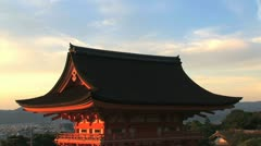 Sunset timelapse of the roof of one the Kiyomizu temples - stock footage