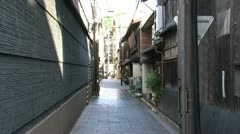 Small empty street at the Gion district Kyoto, Japan Stock Footage