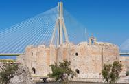Stock Photo of cable stayed bridge, Andirio, Greece