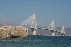 cable stayed bridge, Andirio, Greece - stock photo