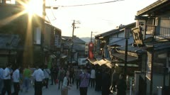 Tourism people in a street at the Gion district Kyoto Stock Footage