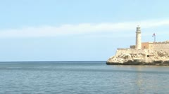 Morro Castle and Cuban Flag view with Blue Waters of the Sea and Verizon 02 H Stock Footage