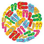 Flip flops circle Stock Illustration