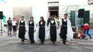 Traditionally dressed Druze females and young males dance Dabke Stock Footage