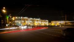 Traffic near The Hermitage at night, St.Petersburg, Russia (timelapse) - stock footage