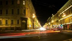 Traffic on Nevsky Prospect night, St.Petersburg, Russia (timelapse) Stock Footage